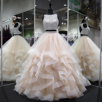 Lange prom jurken nieuwe elegante zware kralen kristallen backless puffy champagne Afrikaanse twee stuk prom dress