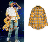 Bieber Yellow Plaid Shirts For Men Front Short Back Length H...