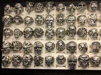 Nuevo cráneo Anillos 30 unids/lote gótico steampunk estilo plateado hiphop joyería para hombres tamaño (17 cm a 22 cm) hombre moda regalos