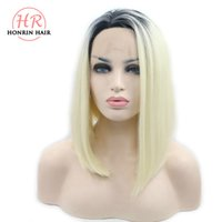 Honrin Hair Blonde Bob Synthetic Lace Front Wig Short Ombre ...