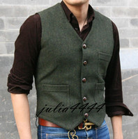 Wool Herringbone Brown tweed Groom Vests 2019 Vintage Dark G...