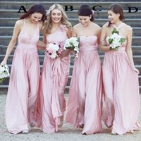 Soft Pink Elastic Satin Bridesmaid Dresses 2019 Sexy Various...