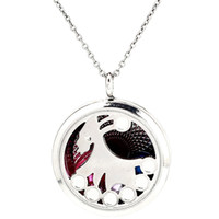 """K1197 8mm Perles De Perles Cage Argent 30mm Robe Ronde Danse Fille Magnétique Flottant Médaillon 20 """"Chaîne Pendentifs Femmes Charms"""