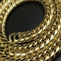 USENSET Plaqué Or Double Collier En Acier Inoxydable Chaîne Cubaine Chaîne Hommes Bijoux De Mode Hip Hop Accessoires YS78