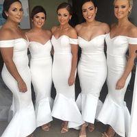 2018 arabo fuori dalla spalla raso sirena a lungo abiti da damigella d'onore raffes high low wedding Guest Long Maid of Honor Abiti da sera BA9632