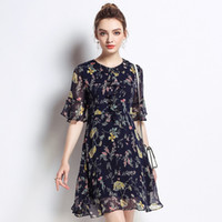 b4cdfce82a44 2018 Plus Size Woman Chiffon Dress Elegant Maternity Clothes Casual  Pregnancy Dress Floral Ruffles Print O-Neck M-5XL