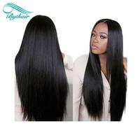 Siyah Kadınlar için bythair Tutkalsız Tam Dantel İnsan Saç Peruk ipek Üst 130% 150% Yoğunluk Ipeksi Düz Brezilyalı Dantel Ön Peruk