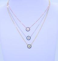 2018 nuove donne di modo regalo regalo gioielli gioielli argento catena 925 argento sterling argento malvagio occhio laterale collana croce lastricata blu pavimentato zirconia blu