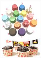 موضة جديدة البيئة الملونة شريط نقطة ورقة كعكة أكواب 50 * 39 ملليمتر الخبز كأس المتشددين العفن كعكة الديكور كب كيك 100 قطعة / الوحدة