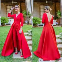 2019 New Red Jumpsuits 댄스 파티 드레스 3/4 긴 소매 브이 넥 정장 이브닝 드레스 가운 Cheap Special Occasion Pants