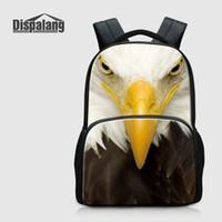 Animal Eagle Printed Рюкзак для Школьных 17 дюймов Холста ранцы Bookbags для средней школы для мужчин плеча Сумки для ноутбуков Женщин Ежедневно рюкзак
