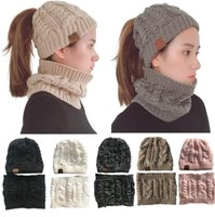 Women CC Beanies Circle Scarf Sets Girl Ponytail Hats Collar...