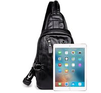 DHL Cyclinig Bags Men PU Casual Classic Black With headphone jack Large Capacity Single Chest Bag