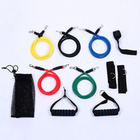 Yüksek Kalite 11 Adet / takım Lateks ABS Tüp Egzersiz Direnç Bantları Egzersiz Gym Yoga Spor Elastik Halat Setleri Açık Spor Malzemeleri
