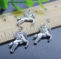 Commercio all'ingrosso 100pcs Pegasus Horse Charms Ciondolo gioielli retrò rendendo portachiavi in argento antico ciondolo in argento per orecchini 17 * 16mm del braccialetto