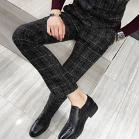 Herrenanzug Plaid Hose Schwarz Navy Blau Gelb S M L XL 2XL 3XL 4XL 5XL Man Fashion Business Casual Hosen