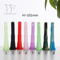 Venta al por menor de 4 pulgadas de silicona hacia abajo del vástago de vidrio Bong Opciones de colores del tubo Popular Conveniente para utilizar fansfun
