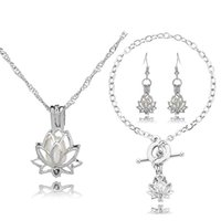 HENGSHENG Arrow Locket Cage Jewelry Set Pearl Oyster Pendant...