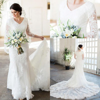 Lace Mermaid Modest Wedding Dresses With 3 4 Sleeves V Neck ...