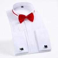Mens francês manguito camisa 2018 novo branco de manga comprida camisa de vestido de casamento noivo camisas de smoking (incluído abotoaduras e laços) 4XL