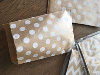 240(10packs) 10x15cm Small white dot kraft paper bags,polka dot chevron goodie bags , Bags,Gift Wrapping bags