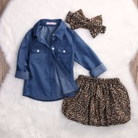 2018 New 3PC Toddler Baby Girls Dress denim outfits Leopard ...