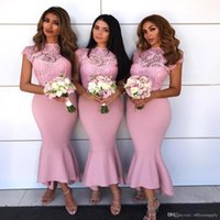 Длина арабского чая русалка невесты платья платья крышки рукава кружева горничные честь платья пляж летние подружки невесты свадебные гостевые платья