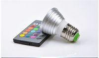 1Pcs Aluminium E27 RGB LED lampe Dimmable 85-265V 110V 220V Avec 24 touches Télécommande Projecteur Ampoule Décoratif Veilleuse