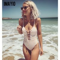2018 Bikini Women Striped Bandage Swimsuit Sexy Deep v Bodys...