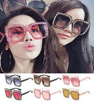 f432a8122d7 Vintage Oversized Square Frame Bling Rhinestone Sunglasses Luxury Brand  Crystal Women Fashion Shades Bling Sunglasses Free shipping