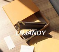 mit orange box schlüsselbeutel echtes leder hält 100% leder berühmte klassische designer frauen schlüsselhalter münze geldbörse kleine lederguttasche
