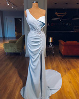 2018 Split Evening Dresses Abendkleider Mermaid One Shoulder...