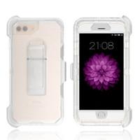 3 en 1 caso de la cubierta del robot híbrido robusto y transparente con clip para el iPhone Pro X 11 X Max 8 7 6 Plus de Samsung Nota 10 S10e S10 S20 Plus