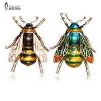 Rinhoo 곤충 꿀벌 여자를위한 꿀벌 소녀 여자 꿀벌 보석 금색 노란색 녹색 법랑 브로치 쥬얼리 범블 비
