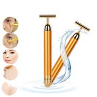 Hot Beleza Rosto Cuidados Com A Pele Ferramenta Pro Emagrecimento Rosto 24 k Barra de Elevador de Ouro Vibração Massageador Facial Energia Vibrando Bar
