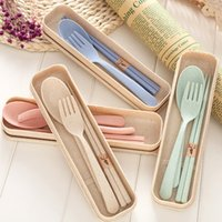 3 pçs / set palha De Trigo criativo utensílios de mesa talheres de Viagem criativa Conjunto de talheres de uso doméstico utensílios de mesa conjuntos de louça