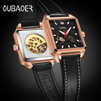 OUBAOER  Top  Men's Sports Automatic Watch Men Unique Luminous Designer Leather Mechanical Watch Man Gold Clock male