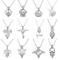 Pearl Cage Collier avec pendentif amour souhaits perle naturelle avec Oyster Pearl Design Mix creux classique Médaillon Clavicule chaîne Collier Diffuseur