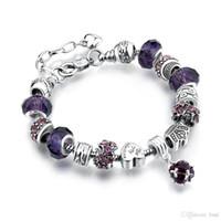 13 colores de moda 925 margaritas de plata cristal de Murano crystal crystal charm beads adapta pulseras del estilo pulseras del estilo 20 + 3 cm AA02