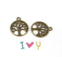 300PCS Antiqued Bronze LIFE OF TREE Round Charm A12816B