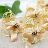 Уникальный простой золотой металл птица клетка Птичья клетка коробка конфет коробки свадебные мероприятия Рождество Валентина подарок пользу подарок