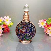 Parfüm damlalıklı, Vintage Boş Mini Doldurulabilir Parfüm Şişesi, Eski Mısır Tarzı Emaye Metal ve Cam Parfüm Şişesi