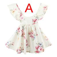 Ins sommar nya baby flickor blommig strand klänning sommar lotus blad halter barn blommor tryck klänning barnkläder 1-6 år gratis skepp