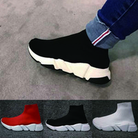 Balenciaga Sock shoes Luxury Brand Speed ​​Sock Sneakers de malla elástica para hombre para mujer negro blanco rojo purpurina Runner Flat Trainers Eur 36-46