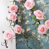 Güller İpek Vine Dekoratif Sahte asılı Çelenk çiçek çelenk Duvar Ev Partisi Düğün Dekoratif Çiçekler için Yapay çiçekler dekorasyon