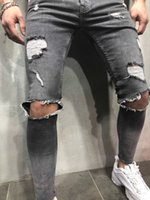 New Mens Pencil Jeans 3 Colors Skinny Ripped Hole Denim Pant...