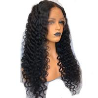 """360 parrucca frontale in pizzo pre-pizzerato naturale attacco capelli anteriori parrucche per capelli umani per le donne nere parrucca riccia profonda con capelli nera dei capelli 12 """""""