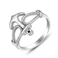 100% Sterling Silver 925 Anchor Finger Rings Jewelry for Wom...