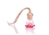 Butelki perfum 6ml Kolorowe Drewniane Pokrywka Home Samochód Wiszący Odświeżacz Perfumy Zapach Mała Pusta Szklana Butelka DHL za darmo