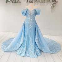 Sparkly Cloud Blue Evening Dress Com Overskirt Elegante bordado Beaded Floral Appliques Sequin Party Dress Dubai Mermaid Evening Dresses